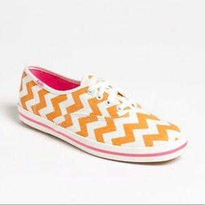 Kate Spade Keds Orange Chevron Sneakers Sz 7
